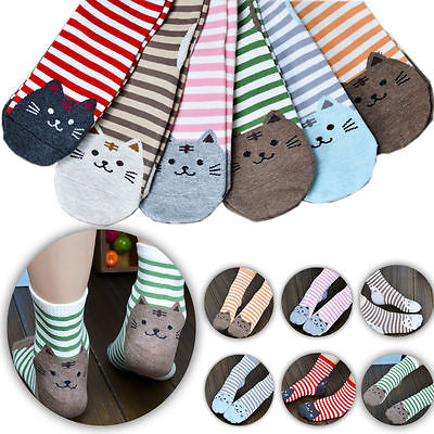 Big Kids Girls Boys Cute Cat Print Socks Warm Cotton Ankle Socks XMAS Gift