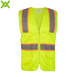 Wholesale zipper type double fabric yellow ansi safety vest
