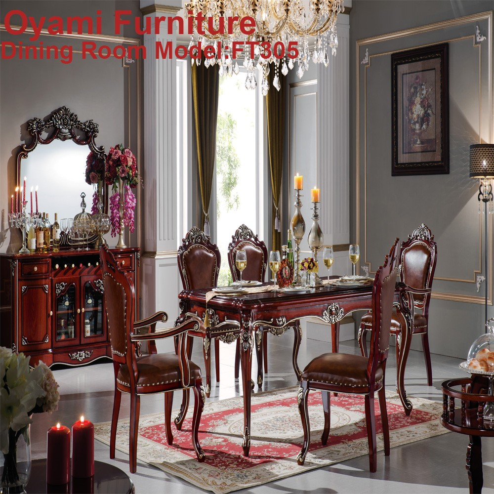 Hot Sell Made In China Solid Wood Antique Dining Room Set