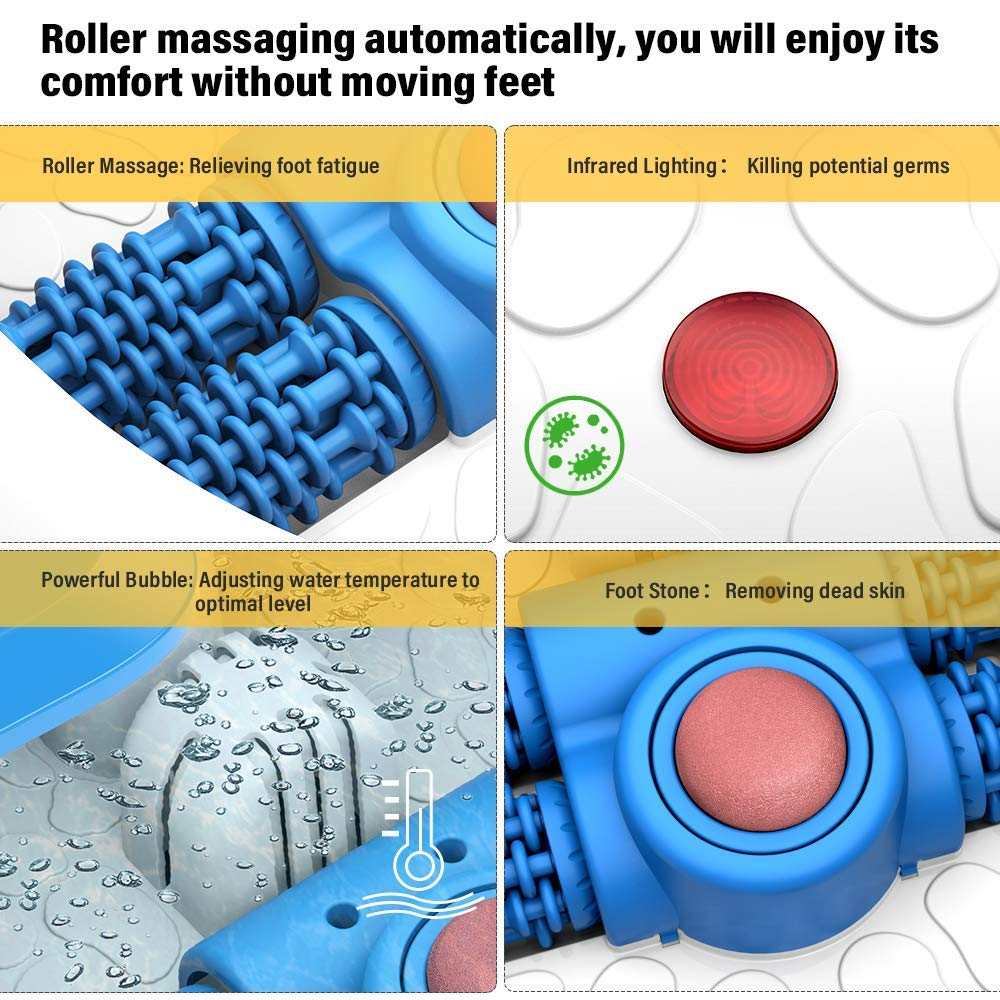 New Arrival Portable Automatic Fast Heating Bubble Foot Soaking Spa Bath Massager with Foot Stone