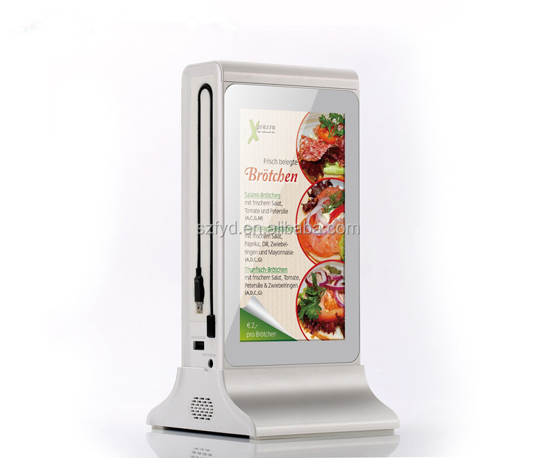 Hot selling digital video player 20800mah dual touch screen restaurant table <strong>advertising</strong>