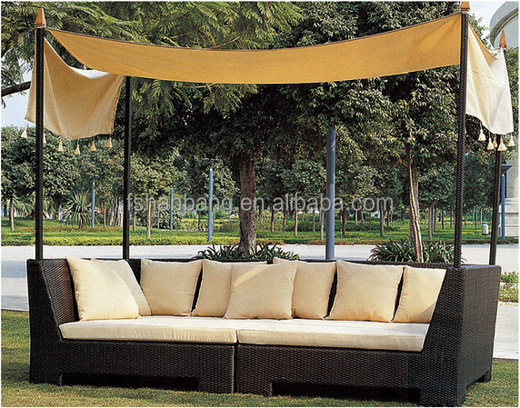 2016 New Leisure PE Rattan Sofa Bed Garden Daybed Canopy Outdoor Furniture