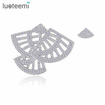 LUOTEEMI Big Fan Shape Stud Earrings for Women White Gold Color Jewellery Fashion Boucle D'oreille Femme Valentine's Day Gift
