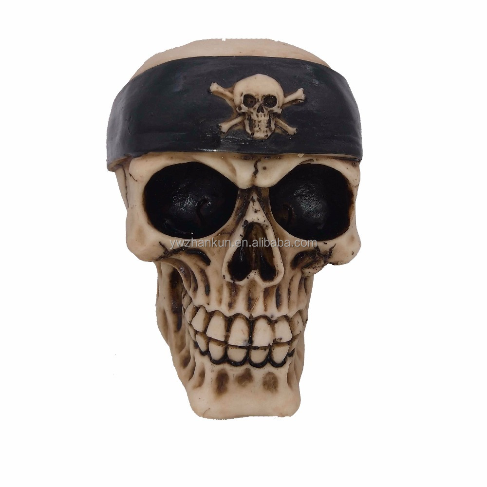 pirate resin statue with cover cool creative man skull head bone model