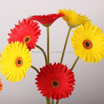 Leagel Fake Flowers Vintage Artificial Pu Gerber Stem Big Silk
