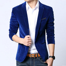Mens blazer slim fit suit jacket black navy blue velvet 2014 spring autumn outwear coat Free shipping