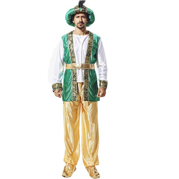 Adult Male Middle Eastern Prince Men Arab Clothes Dubai Dress Masquerade Halloween Cosplay Costumes Set XQ1117