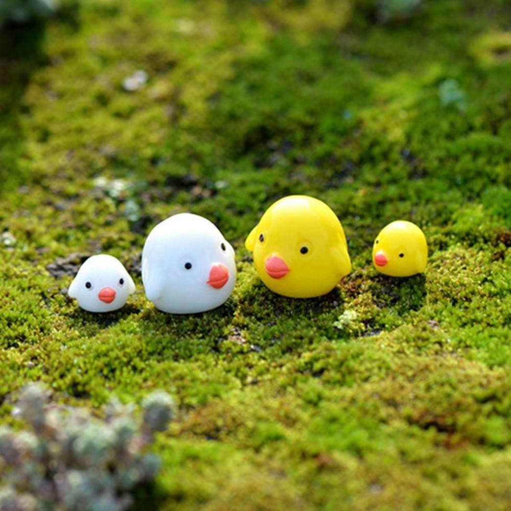 Cloudga 4pcs/lot Mini Resin Craft DIY Miniature Figurine Landscape Decoration Cartoon Chicken Garden Ornaments