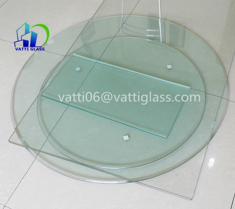 Round Tempered Glass Lazy Susan Turntable, Milk Glass Table Top
