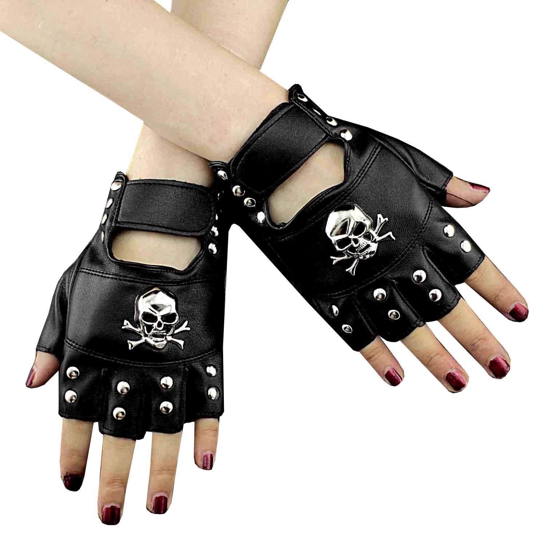 Cool Mens Leather Studded Punk Rock Driving Motorcycle Biker Fingerless Gloves