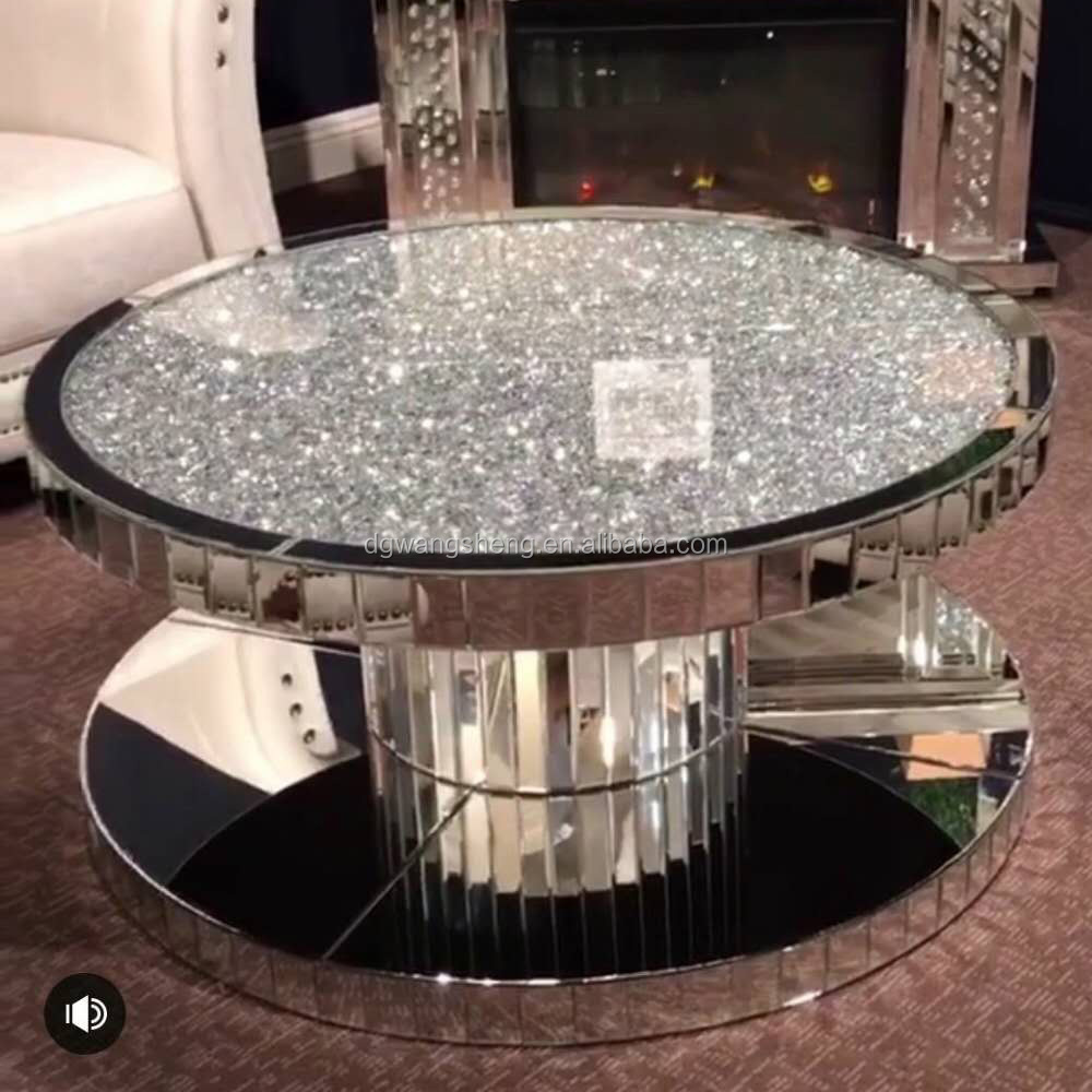- Crushed Diamond New Style Round Mirrored Coffee Table - Buy Glass