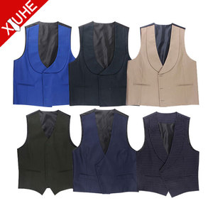 Mens cotton multicolor U-shape neck Double Breasted vest men