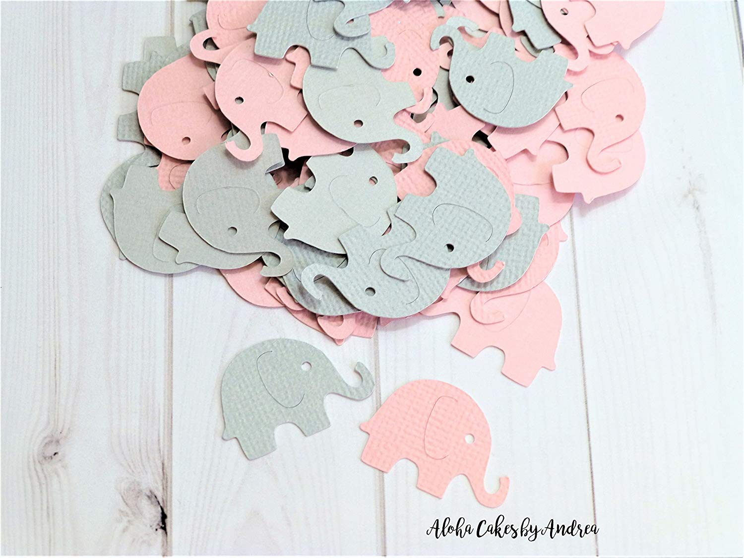 Pink and Gray Elephant Confetti, Girl Baby Shower Decoration, Its A Girl, Little Peanut, package of 100