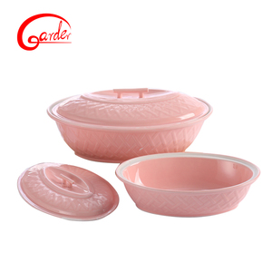 Hot sale good quality home cookware pink ceramic casseroles set with lid