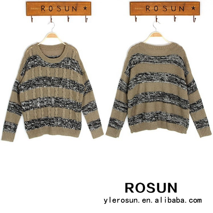 Trendy cheap wholesale striped pattern vintage sweater clothing for old women
