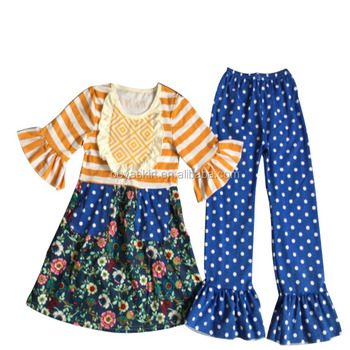 2018 giggle moon remake outfits wholesale children's boutique clothing cotton dress and pant ruffle outfits