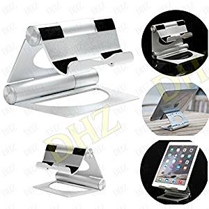 DHZ Tablet Aluminium Stand for 4-12 inches Smartphone/Tablet iPhone 5/5S/6s/6s Plus/Se,iPad Pro/Air/2,3,4 Mini,Galaxy S5/S6/S7 edge,Note 4/5,surface,Kindle, 3 Stand Holder 360 Degree Cradle. Silver
