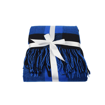 Extra large blue plaid modern throw blanket