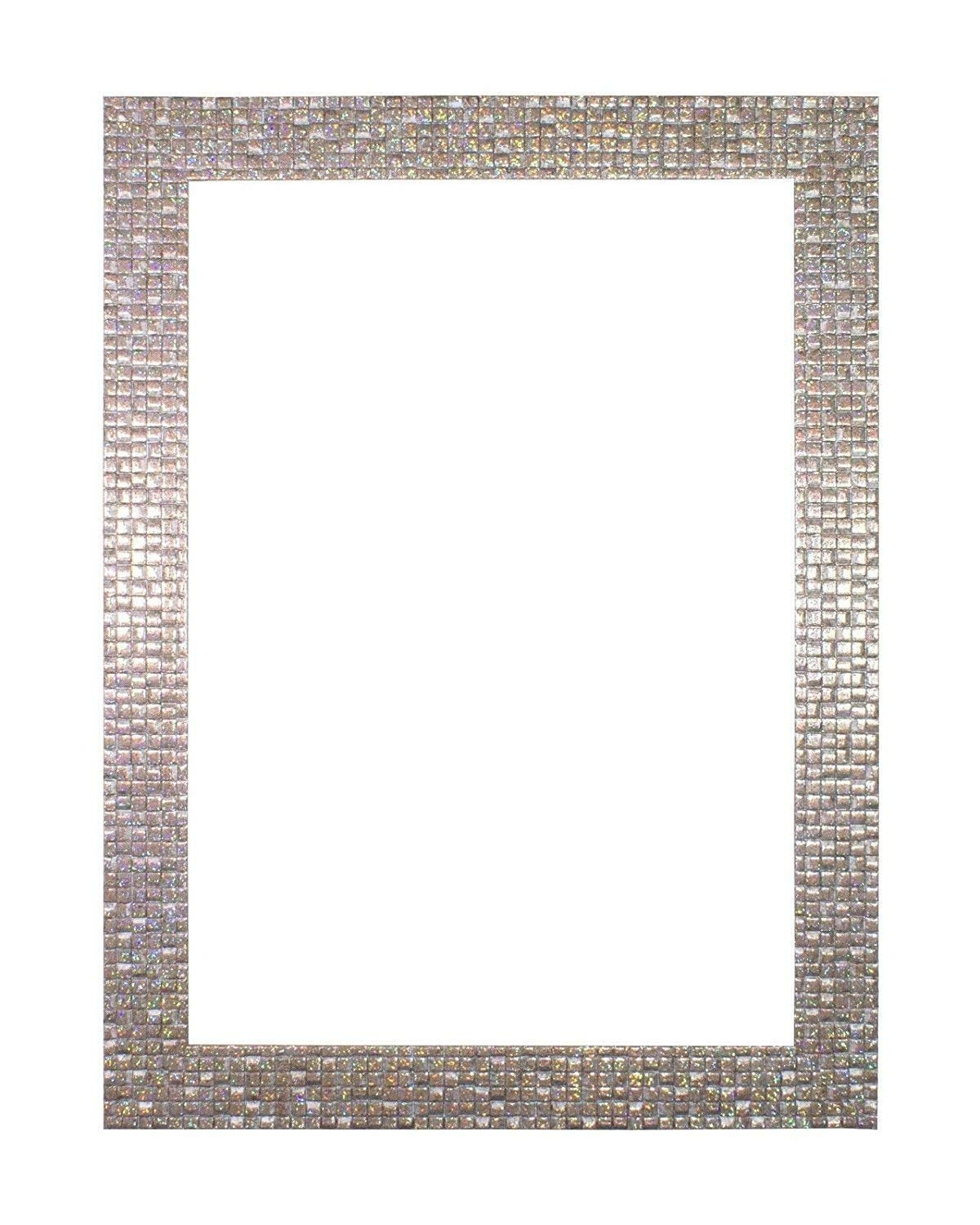 "Paintings Frames Flat Bright/Mirror Effect/Pop Star Picture/Photo/Poster Frame MDF Backing Board Hang/Stand Styrene Perspex Sheet Moulding Measures 28Mm Wide & 16Mm 14""X11"" Pearl Silver Bling"