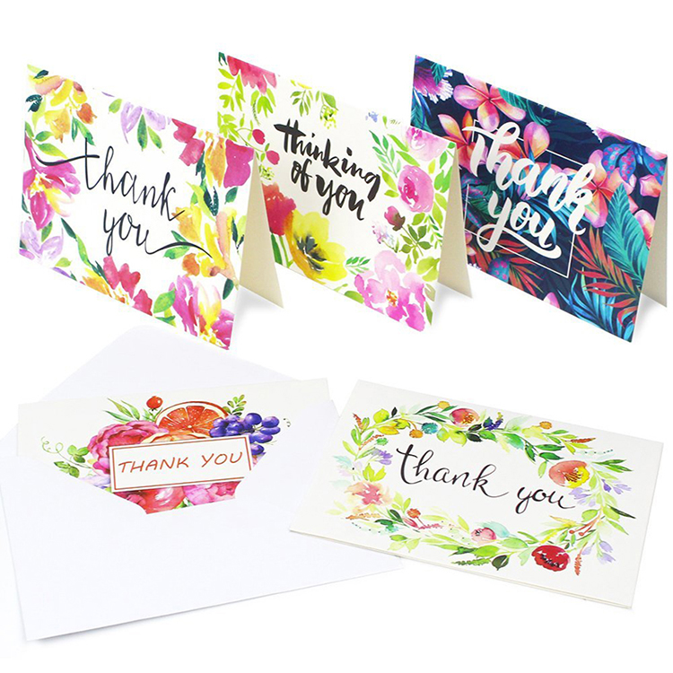 Custom made design thank you cards pack 100