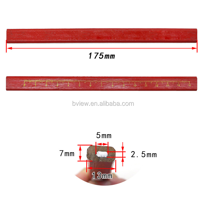 Custom wood flat or rectangular HB carpenter lead pencils