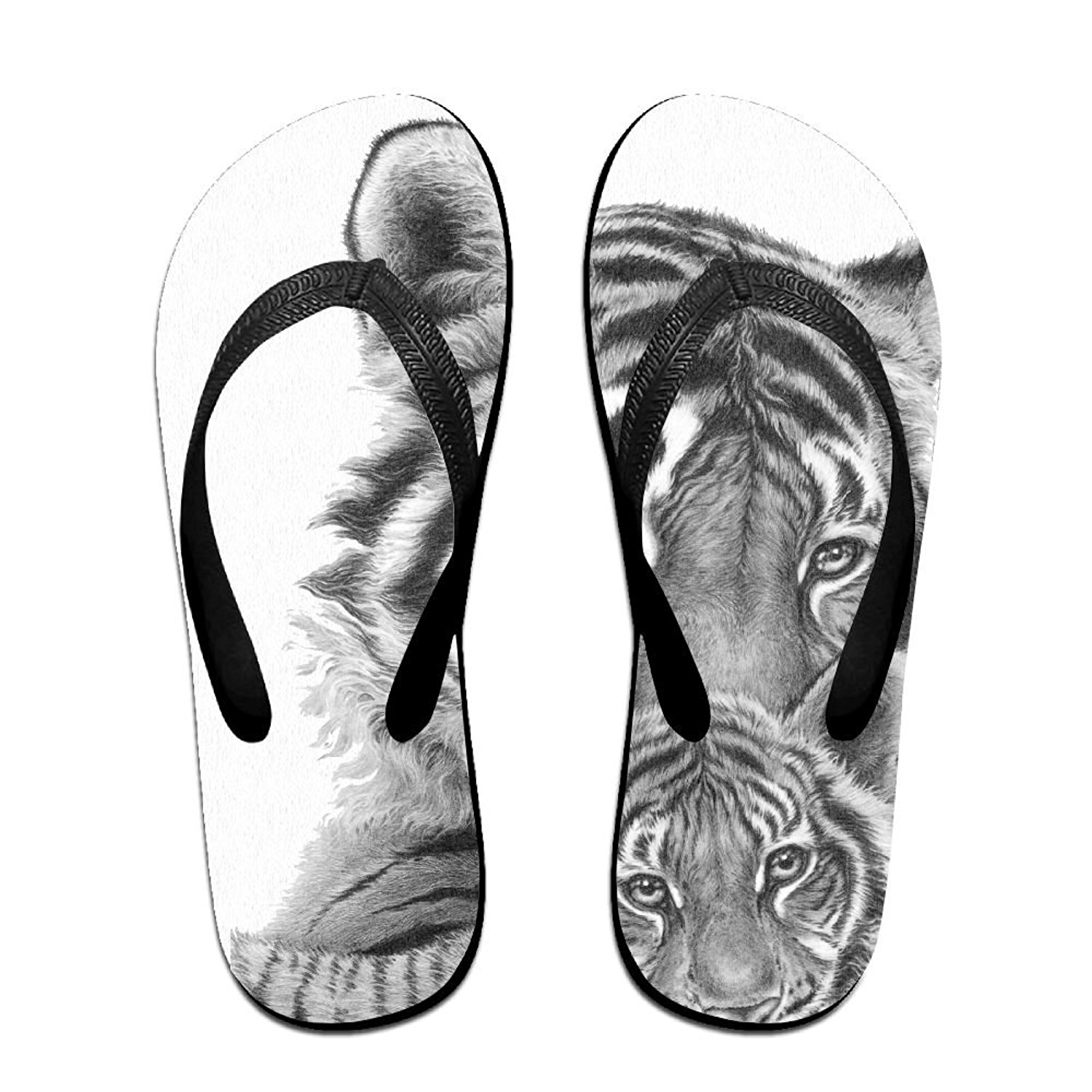8ffc6f8f1 Get Quotations · QR FUNK Unisex Bengal Tiger And Tiger Baby Summer  Comfortable Flip Flops Beach Slippers