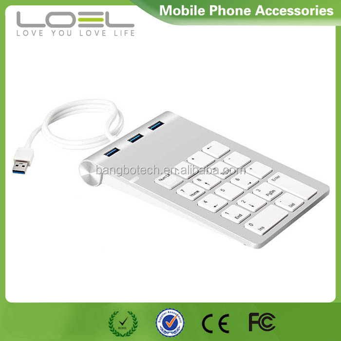 USB Metal Numeric Keypad with USB 3.0 hub 3-port Aluminum case