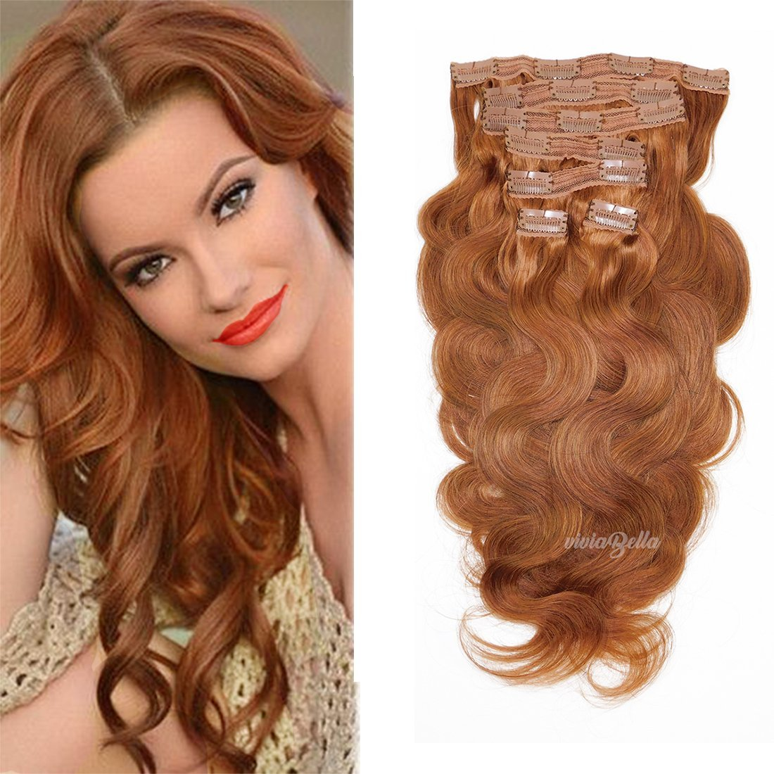 "Full Head Clip in Hair Extensions Body Wave Human Hair Brazilian Virgin Hair Double Weft 7Pcs/lot 120g/set (20"", Copper Red)"