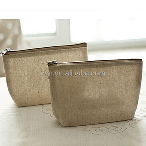 Wholesale jute burlap cosmetic bag,plain travel makeup bag