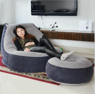 PVC flocking inflatable chair lazy air filled sofa with foot stool