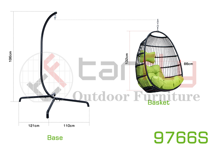 Ifenitshala yegadi engaphandle kwegadi Patio Rattan Oval Hanging Swing chair