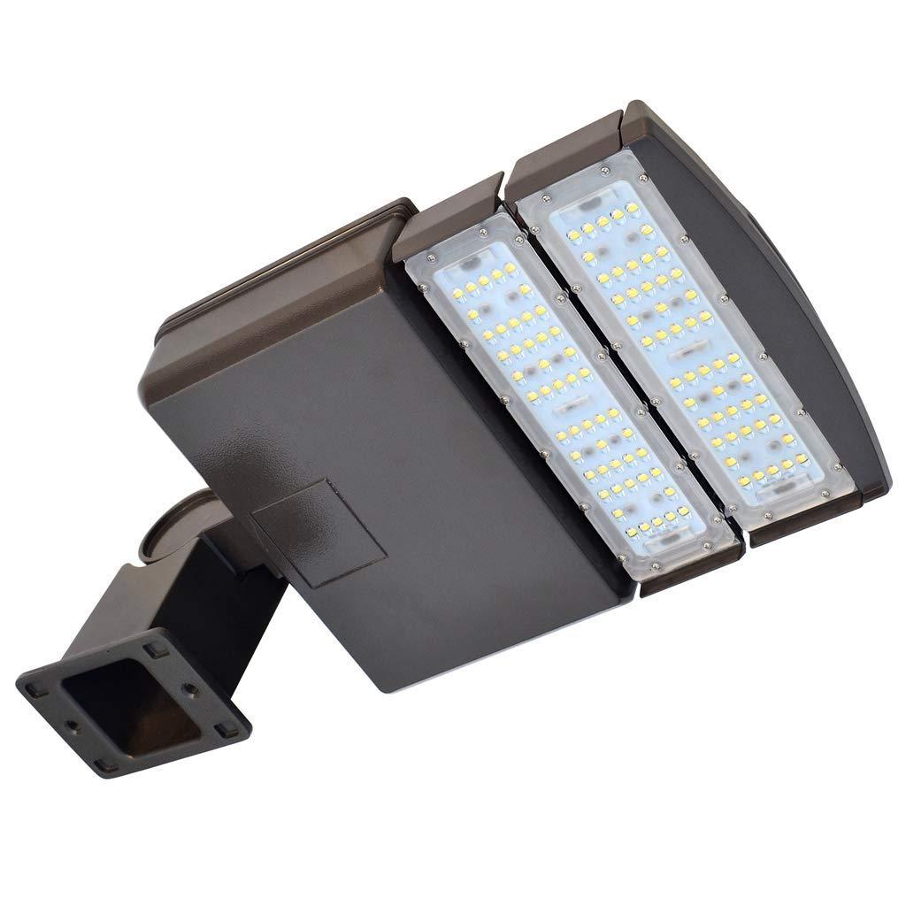 Docheer 100W LED Parking Lot Lights Fixture - LED Shoebox Pole Light Flood Lighting - 12000 Lm - 5300K- Outdoor Commercial Area Street Security Lighting - D2 Arm Mount