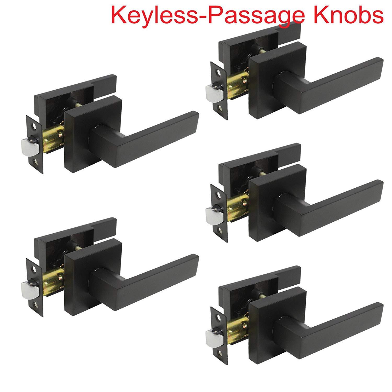 Probrico Door Lock Keyless Passage Door Lever Lock Black Door Handles Hardware Hall Leverset Lockset 5 Pack-Door Lever-DL01