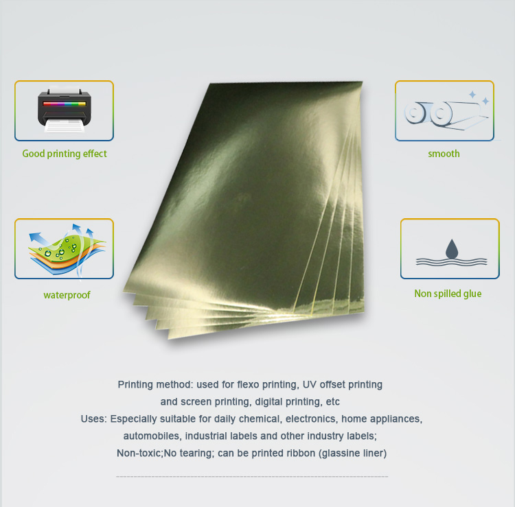 No Poison Mirror Gold Pet Self Adhesive Foil Paper Printable
