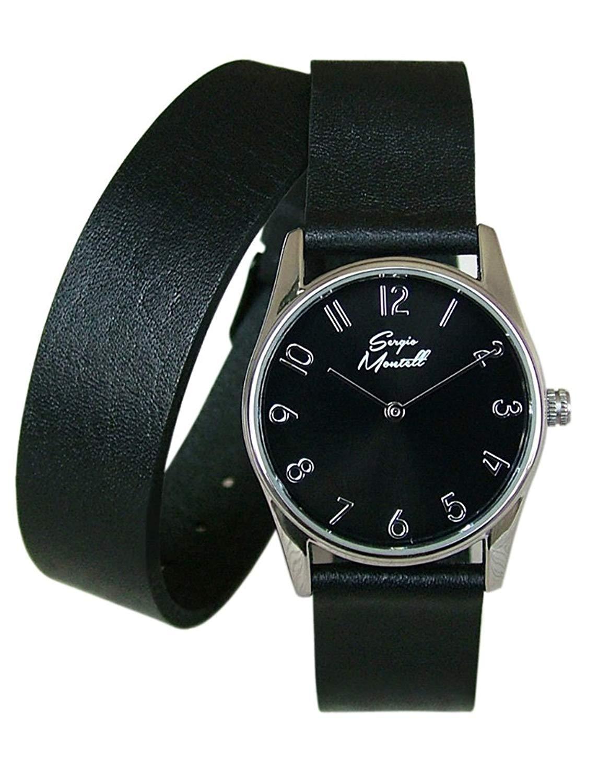 93de8906e Get Quotations · Sergio Montell Women's Black Leather Wrap Strap Watch -  Silver-Tone/Black Face,