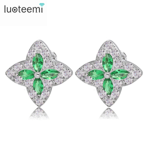 LUOTEEMI 4 Colors Optional Woman Top Quality Fashion Cubic Zirconia Cross Starlight Stud Earrings