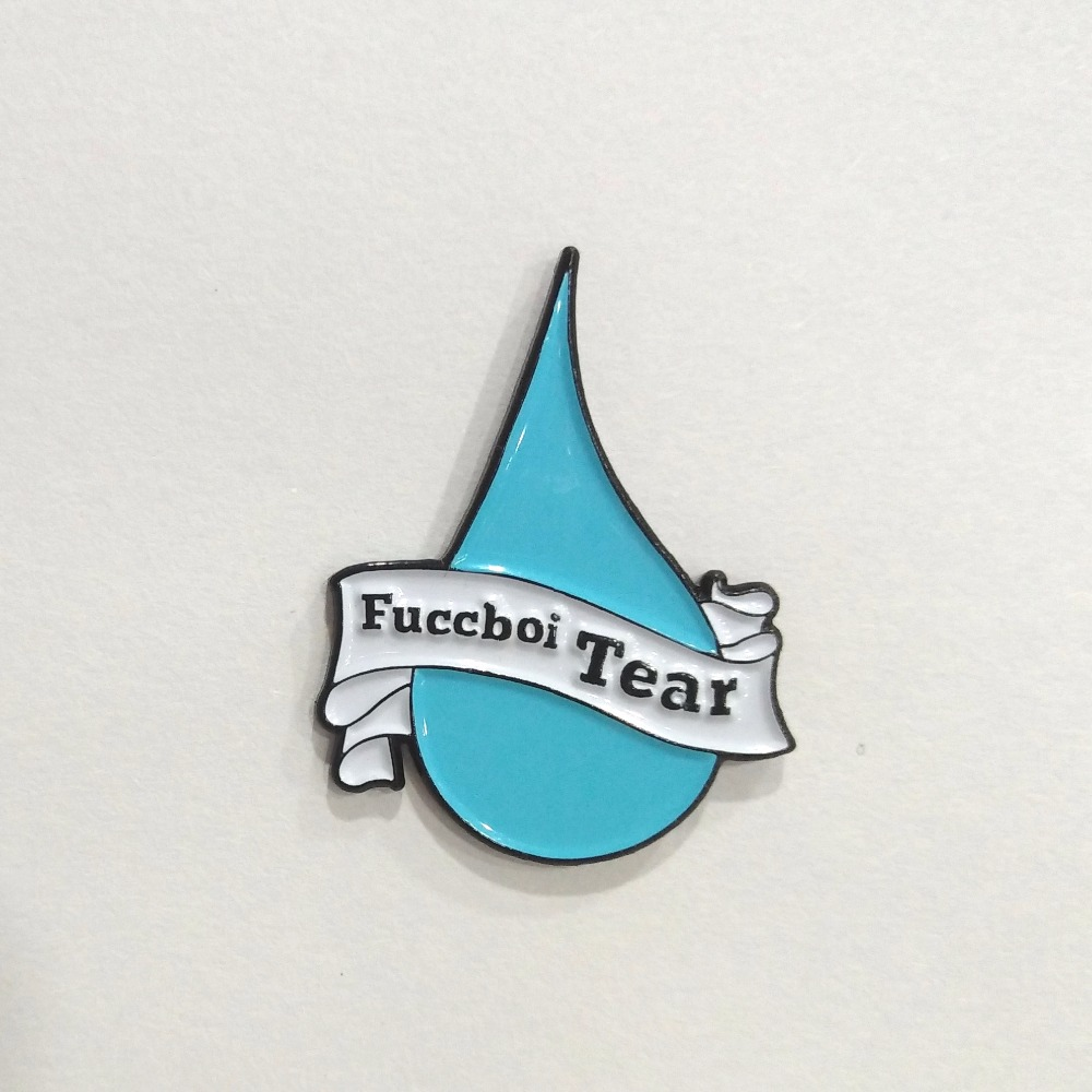 Custom light blue water droplet button pins & loop pin badge