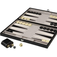 Large Backgammon Set Black Board, Green Playing Surface, Black and White Points