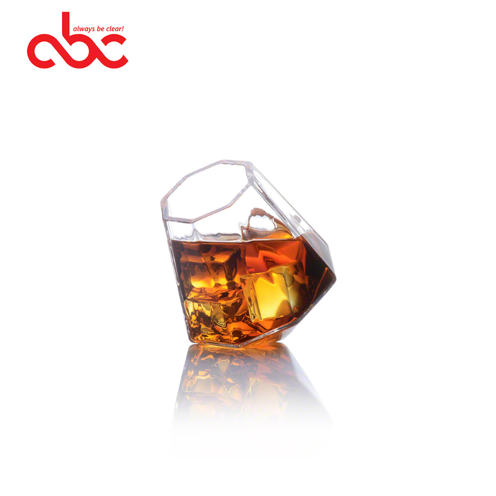 Wholesale Mouth-blown Borosilicate Diamond Shaped Whiskey Drinking Glasses