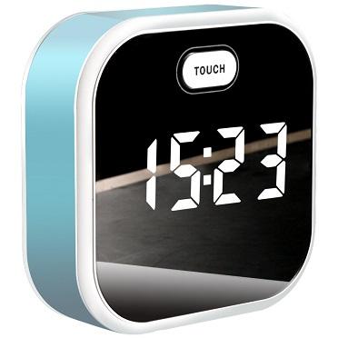 Creative Digital LED Display Mirror Table Clock Usb Charger Alarm Clock