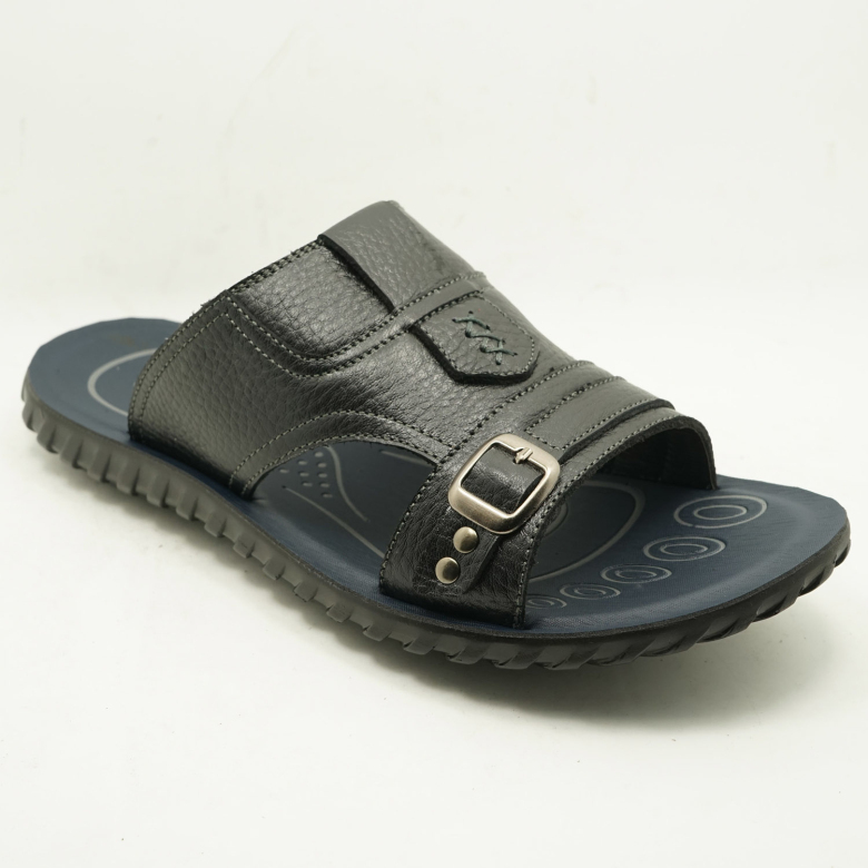 Genuine Leather Upper Soft Pu Sole Slippers Men's Summer Slippers ...