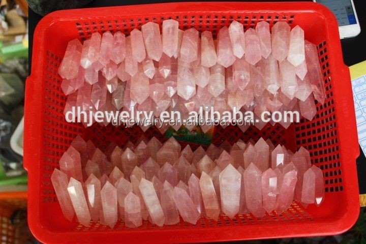 wholesale cheap natural quartz rose crystal wand points of healing gifts with most competitive price