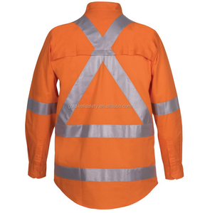Hi vis shirt long sleeve work shirt orange safety shirt