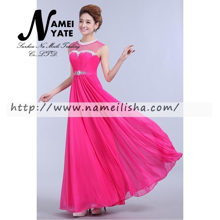 Venta al por mayor vestidos de noche fucsia largos-Compre online los ...