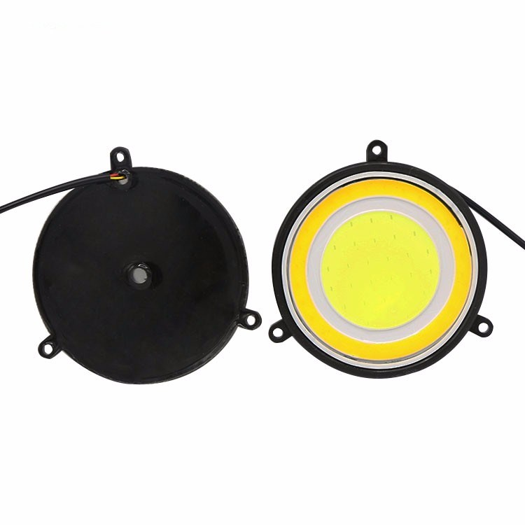 2x White/Amber 162SMD Round COB Ring LED Car DRL Daytime Running Light Fog Lamp 3.5 inch diameter 89mm high power