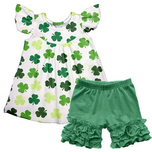 New Boutique Kid St Patrick's Day Clothes Four Leaf Clover Print Flutter Sleeves Top Solid Green Ruffle Pant Baby Girl Outfits