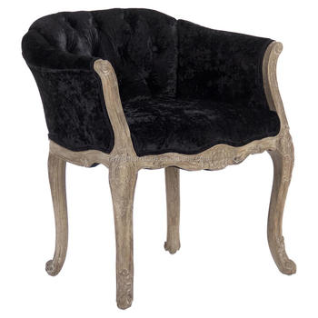French Rustic Crushed Velvet Wooden Tufted Dining Chair Antique