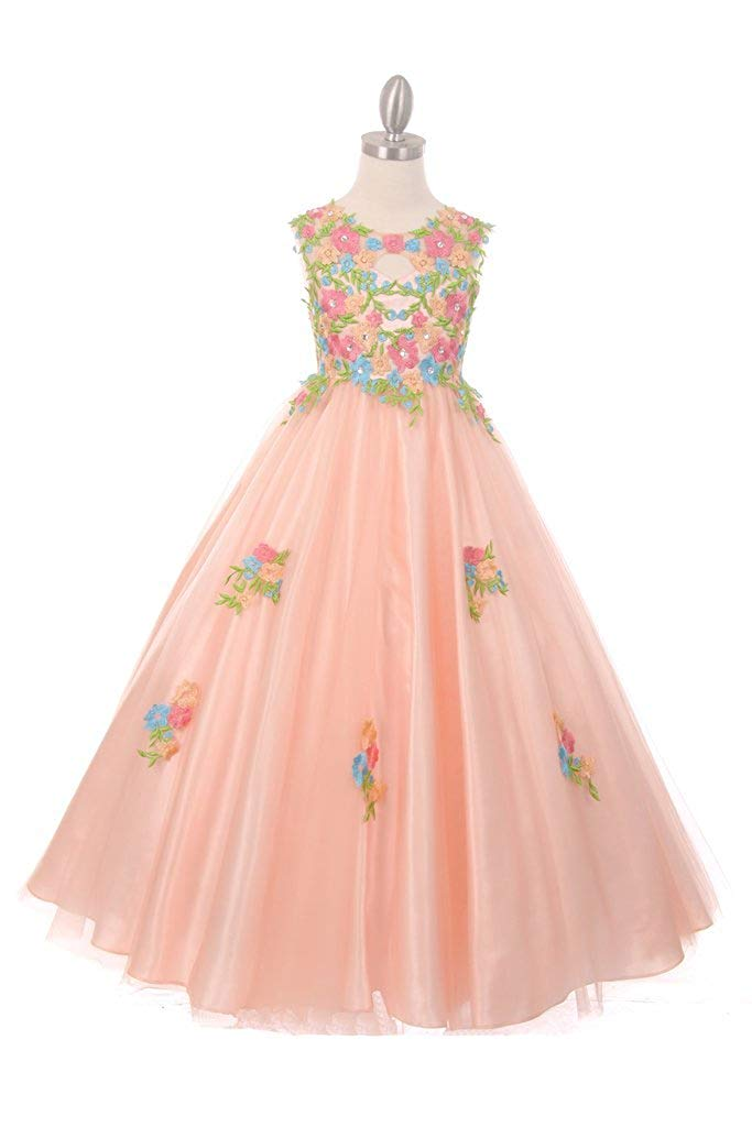 The Couture Dresses Beautiful All Over Hand Placed and Sewn Flower Embroidery Lace Dress, Blush 12