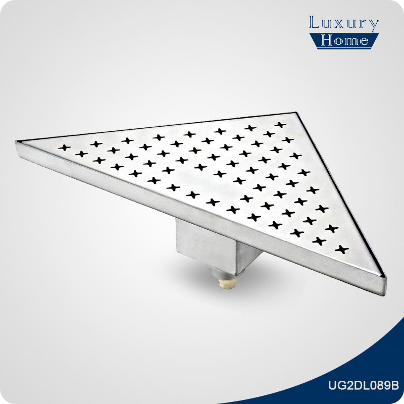 Stainless steel triangle linear shower drain