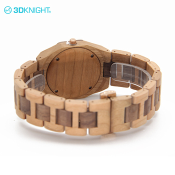 Real Cherry+Walnut wood famous men's quartz watch brand band strap